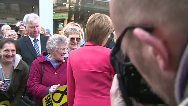 nicola sturgeon walkabout in stirling england stirling ext nicola sturgeon from car and greeted by steven paterson and others/ various of nicola... - stirling stock videos and b-roll footage