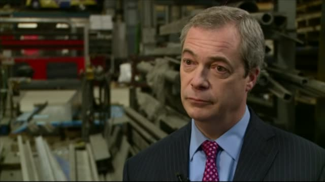 nigel farage profile farage interview sot manchester middleton back view of factory workers watching farage at podium at sheet metal manufacturing... - sheet metal stock videos and b-roll footage