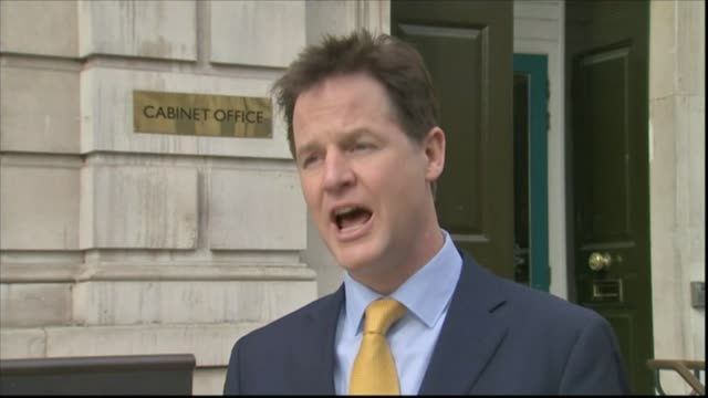 general election 2015: parliament dissolved as campaigning officially begins; cabinet office: ext nick clegg speaking to press sot - the last thing... - チッペナム点の映像素材/bロール