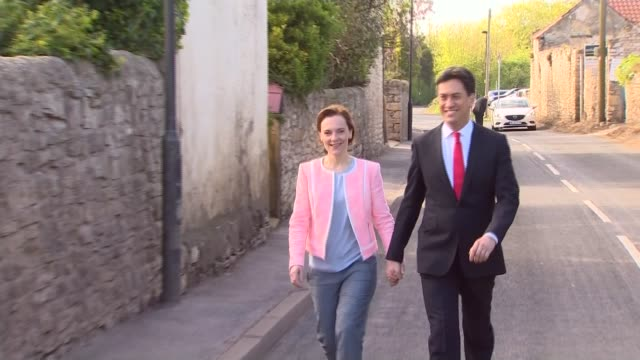 polling day / party leaders cast their votes oxfordshire witney david cameron and his wife samantha cameron holding hands as along and entering... - south yorkshire stock videos and b-roll footage