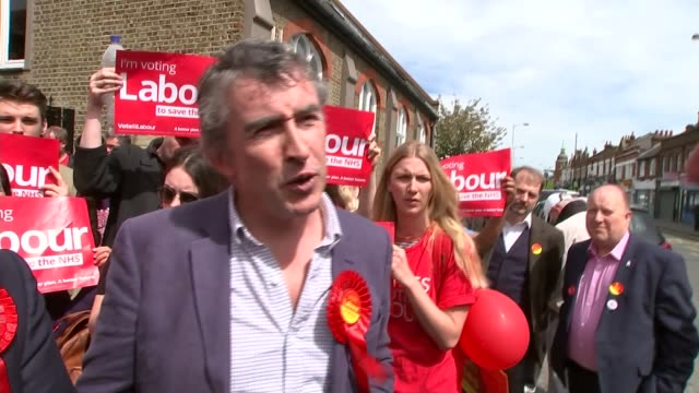 general election 2015: round-up of campaigning in london; croydon: ext steve coogan interview sot - they wouldn't say that if it was russell brand... - steve coogan stock videos & royalty-free footage
