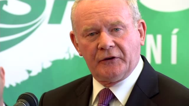 sinn fein launch their manifesto martin mcguinness sot following this election campaign we'll be seeking an immediate negotiation with the incoming... - シンフェイン点の映像素材/bロール