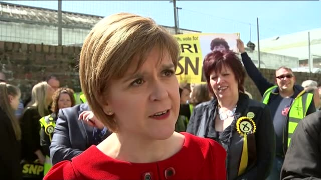 general election 2015: sir john major speech and reaction; scotland: ayr: ext nicola sturgeon interview sot - i think it says that scotland is at the... - ayr stock videos & royalty-free footage