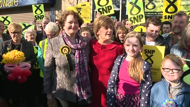 SNP Nicola Sturgeon walkabout in Irvine SCOTLAND Ayrshire Irvine EXT Various of Nicola Sturgeon and Dr Philippa Whitford walkabout in high street...