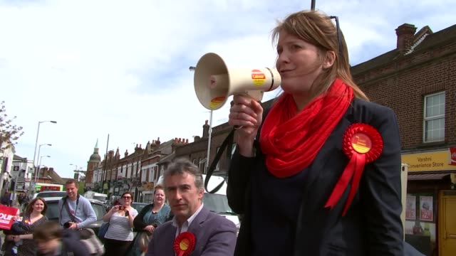 general election 2015: steve coogan and tom watson campaigning in croydon; england: london: croydon: ext labour supporters posing holding placards... - steve watson stock videos & royalty-free footage