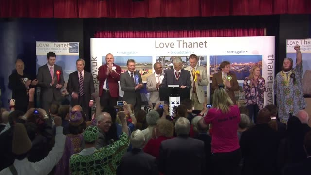 general election 2015: thanet south declaration: nigel farage loses to conservative candidate craig mackinley; candidates onto stage for count/... - al murray stock videos & royalty-free footage