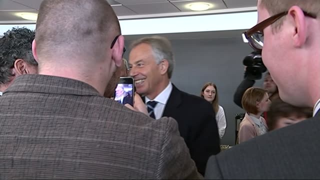 tony blair campaigning for labour england county durham sedgefield int tony blair posing for mobile phone photograph blair surrounded by supporters... - county durham stock videos & royalty-free footage