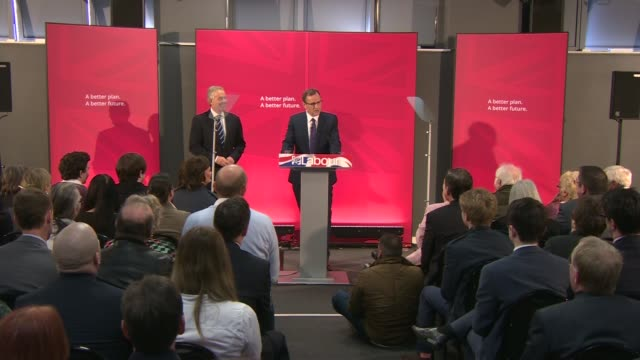 general election 2015: tony blair press conference on europe; england: county durham: sedgefield: int audience stand and applaud as former prime... - county durham england stock videos & royalty-free footage