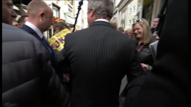 ukip nigel farage campaigning in ramsgate nigel farage interview sot to be third in over all share of the vote / number of second place is very... - ramsgate stock videos and b-roll footage