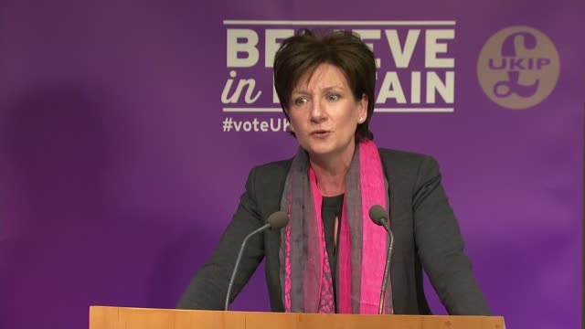 ukip press conference england london int suzanne evans introduction sot / diane james policy for women speech sot - diane james politik stock-videos und b-roll-filmmaterial