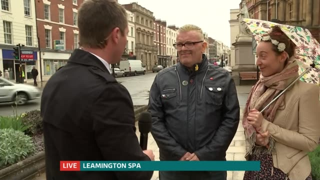 Undecided voters in Frome and Leamington Spa ENGLAND Warwickshire Leamington Spa Reporter to camera / vox pops