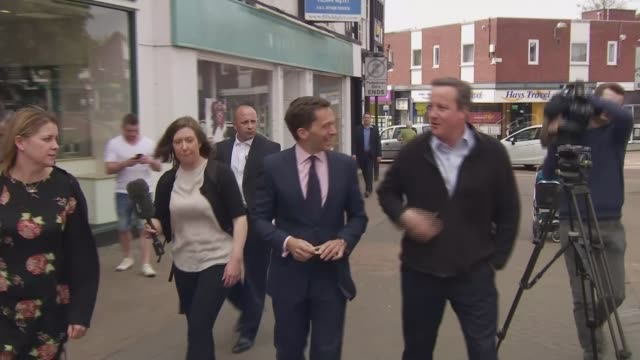 general election 2017: cameron campaigns in cheshire on 7th anniversary of day he became prime minister; england: cheshire: nantwich: ext various of... - nantwich stock-videos und b-roll-filmmaterial
