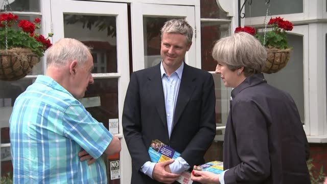 campaigning in richmond park 2952017 zac goldsmith and theresa may chatting to man outside house as campaigning together - election stock videos & royalty-free footage