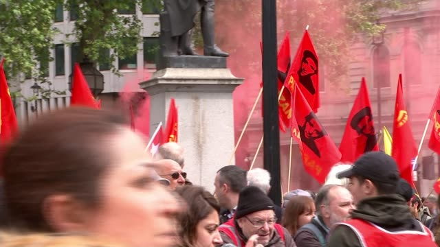 campaigning in south west london / may day march general election 2017 campaigning in south west london / may day march england london ext **music... - socialist party stock videos and b-roll footage