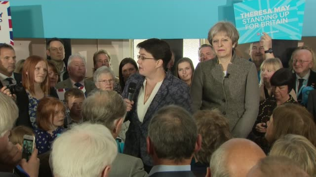 conservative pm theresa may speech in aberdeenshire scotland aberdeenshire crathes int ruth davidson msp speech sot - aberdeenshire stock videos & royalty-free footage