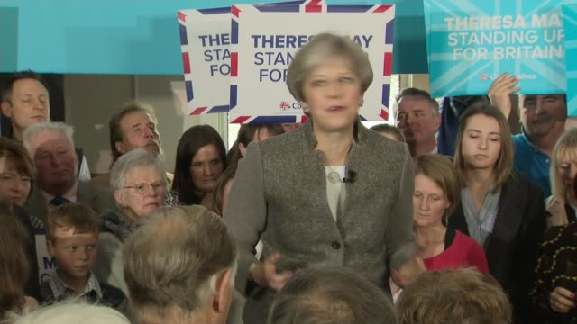 conservative pm theresa may speech in aberdeenshire theresa may speech sot / qa session sot / may leaves - aberdeenshire stock videos & royalty-free footage