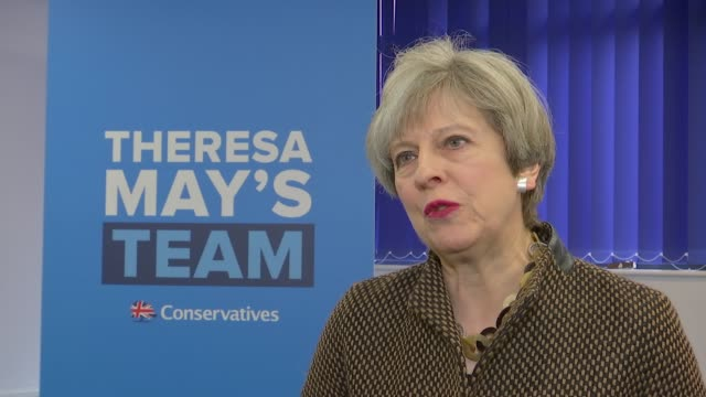 conservative theresa may interview re strong and stable leadership england london harrow int theresa may interview sot - harrow stock videos & royalty-free footage