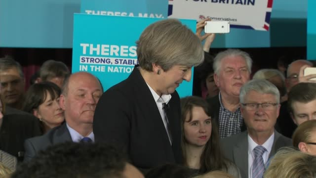 conservative theresa may speech in lancashire theresa may qa session sot theresa may departs building into car and away - q and a stock videos & royalty-free footage
