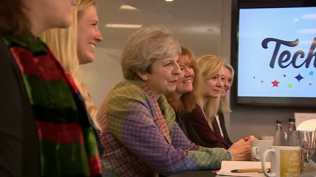 general election 2017: conservatives promise 'new deal for workers'; england: oxford: tech pixies: int various of theresa may greeting female... - median nerve stock videos & royalty-free footage