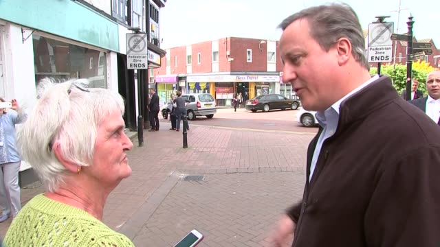 David Cameron in Nantwich ENGLAND Cheshire Natwich EXT Various of Former Prime Minister David Cameron campaigning in high street and interview SOT /...