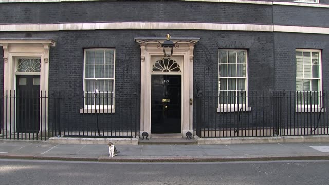 Downing Street departures ENGLAND London Downing Street EXT GVs Larry the cat / police by 10 Downing Street / Boris Johnson and others from 10...