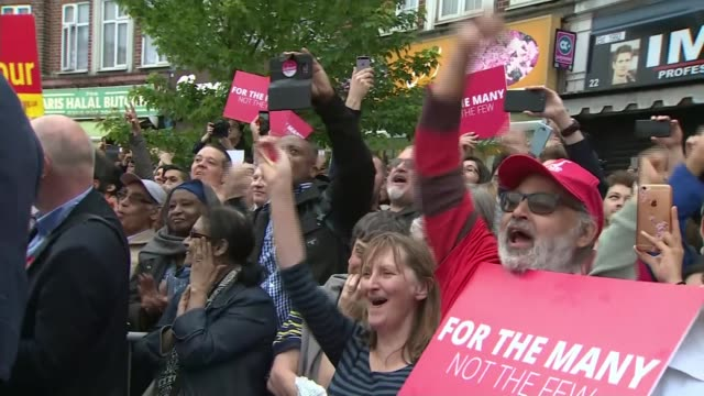 final day of campaigning labour london harrow jeremy corbyn speech to rally sot we are labour we are the people we are the community and we will win... - harrow stock videos & royalty-free footage