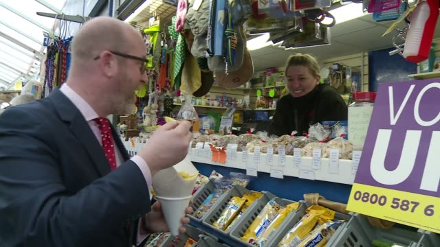 final day of campaigning ukip england norfolk great yarmouth int paul nuttall meeting stallholders as touring indoor market/ - norfolk england stock videos & royalty-free footage