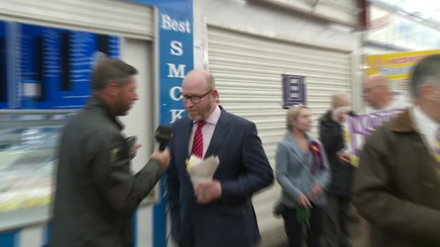 final day of campaigning UKIP ENGLAND Norfolk Great Yarmouth EXT Entrance to Great Yarmouth covered market Paul Nuttall MEP campaigning and interview...
