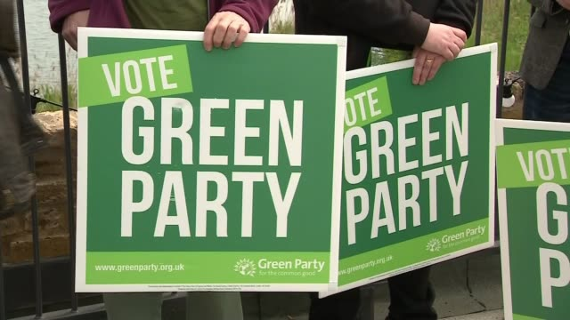 Green Party launches manifesto ENGLAND London Woodbury Wetlands nature reserve EXT Various of Green Party CoLeader Caroline Lucas and Green Party...