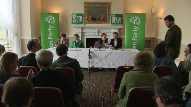 green party manifesto launch in bristol int caroline lucas mp molly scott cato carla denyer and jonathan bartley press conference and qa session... - green party stock videos and b-roll footage