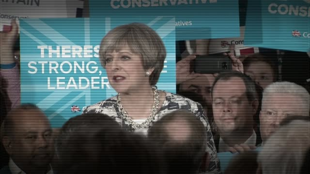 hung parliament conservative party reaction file 762017 theresa may camapign speech sot if we lose just 6 seats then the government loses its majority - conservative party uk stock videos & royalty-free footage