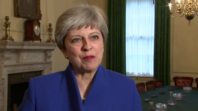 hung parliament interview theresa may following the election england london downing street int theresa may mp interview sot - hanging stock videos & royalty-free footage