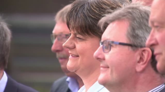 general election 2017: hung parliament: northern ireland results; belfast: stormont hotel: side view of arlene foster mla and dup mps - dup stock-videos und b-roll-filmmaterial
