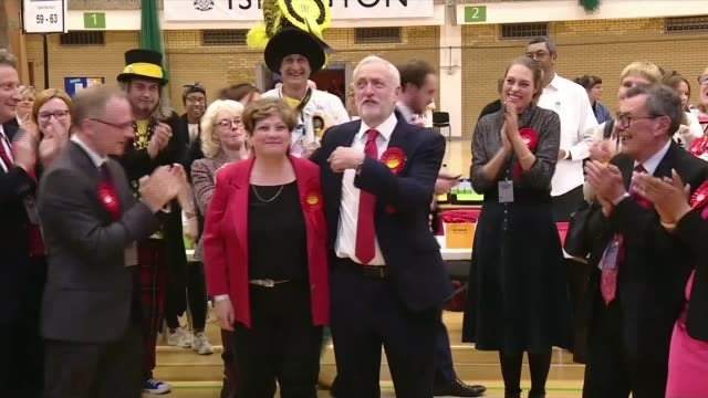 general election 2017: hung parliament: unexpectedly strong labour showing; islington: **beware flash photography** jeremy corbyn arriving at... - islington stock videos & royalty-free footage