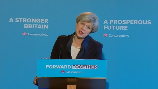 immigration debate 1852017 ENGLAND West Yorkshire Halifax Conservative Manifesto launch INT Theresa May speaking at Conservative Manifesto launch SOT...