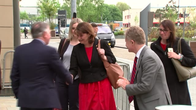 ITV Leaders' Debate Leanne Wood and Caroline Lucas arrivals ENGLAND Greater Manchester Salford Media City EXT Leanne Wood AM arriving and interview...