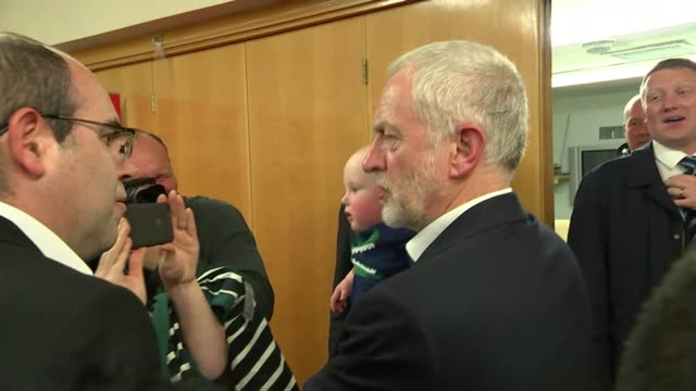 jeremy corbyn campaigns in pudsey england west yorkshire pudsey int various shots of jeremy corbyn meeting labour party supporters posing for... - west yorkshire stock-videos und b-roll-filmmaterial