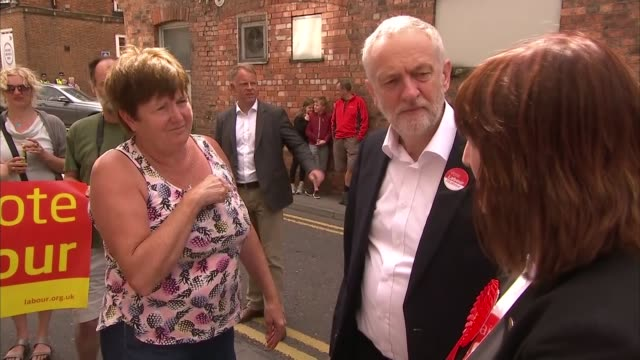 Jeremy Corbyn in Lincoln ENGLAND Lincolnshire Lincoln EXT Jeremy Corbyn arrival greeting pensioners and Karen Lee Jeremy Corbyn seated at meeting...