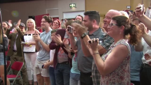 general election 2017: jeremy corbyn interview; england: essex: basildon: int jeremy corbyn cheered and appluaded by supporters as into hall for... - basildon stock videos & royalty-free footage