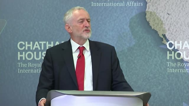 jeremy corbyn outlines foreign policy england london chatham house int jeremy corbyn speech sot britian deserves better than simply outsourcing our... - outsourcing stock videos & royalty-free footage