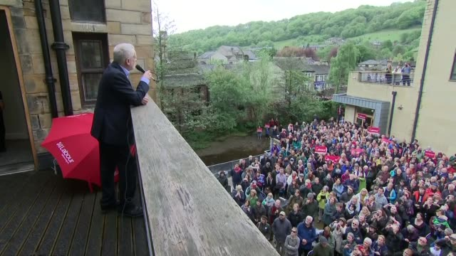 Jeremy Corbyn speech from balcony in Calder Valley **Different angle** Jeremy Corbyn speech from balcony SOT re NHS and funding CUTAWAYS audience...