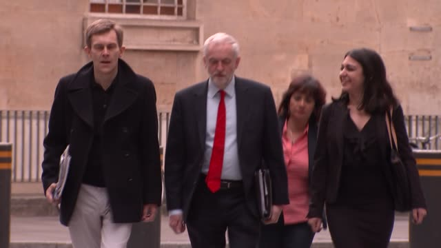 labour jeremy corbyn bbc arrival and departure england london bbc new broadcasting house ext jeremy corbyn and seumas milne along and into building /... - seumas milne stock videos & royalty-free footage