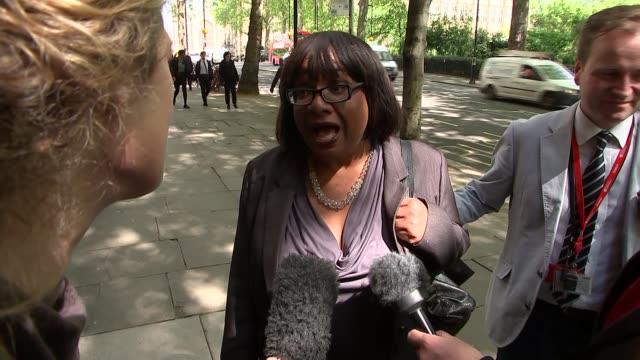 LabourDiane Abbott doorstep on policing reforms ENGLAND London Westminster EXT Diane Abbott MP interview TRACKING SHOT following Abbott into building...