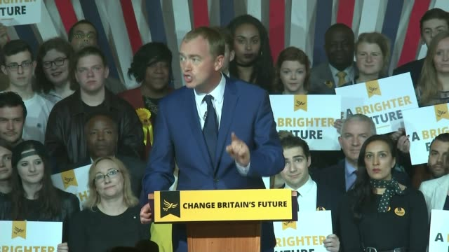 liberal democrats launch manifesto tim farron speech sot i believe our children will have a brighter future if we are inside the european union... - pult stock-videos und b-roll-filmmaterial