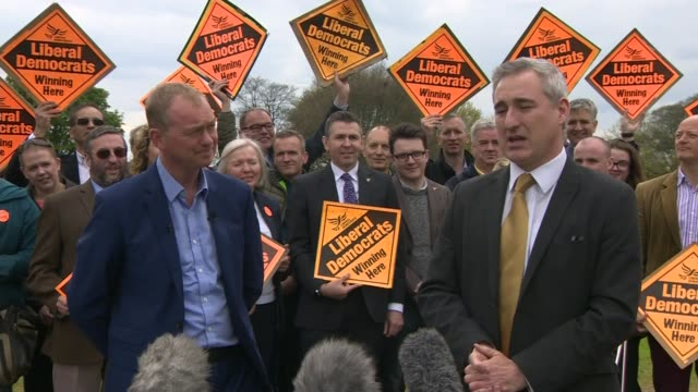 liberal democrats tim farron at rally in leeds england yorkshire leeds ext tim farron mp arriving for rally / greg mulholland introducing farron sot/... - west yorkshire stock-videos und b-roll-filmmaterial