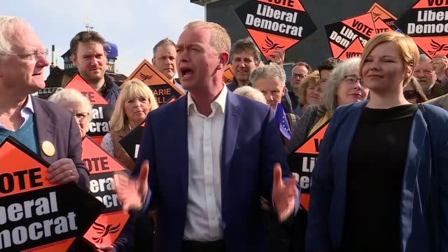 liberal democrats tim farron rally in lewes interview cutaways england east sussex lewes ext tim farron and kellymarie blundell along and posing for... - east sussex stock videos & royalty-free footage