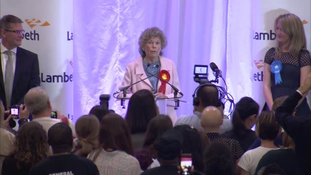 general election 2017: london declarations 1; vauxhall - declaration and speech - kate hoey sot dulwich and west norwood - declaration and speech -... - dulwich stock videos & royalty-free footage