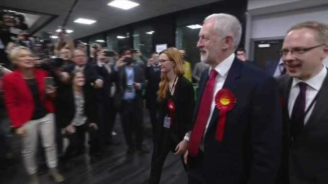 general election 2017: london reacts to results; jeremy corbyn along as greets press sot speeded up time lapse sequence islington count gvs election... - islington stock videos & royalty-free footage