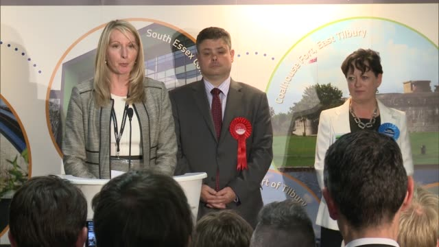 london results 3 thurrock declaration speech and interview jackie doyle price sot - thurrock stock videos and b-roll footage