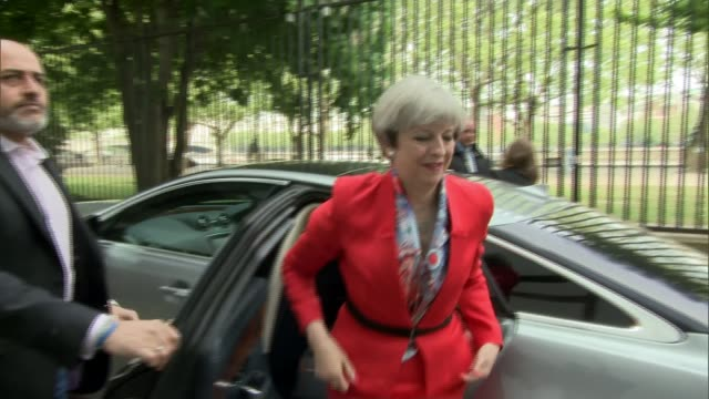 main parties discuss tax and pensions General Election 2017 main parties discuss tax and pensions ENGLAND London EXT Theresa May MP from car and...